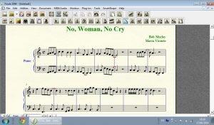 editando partitura no woman no cry