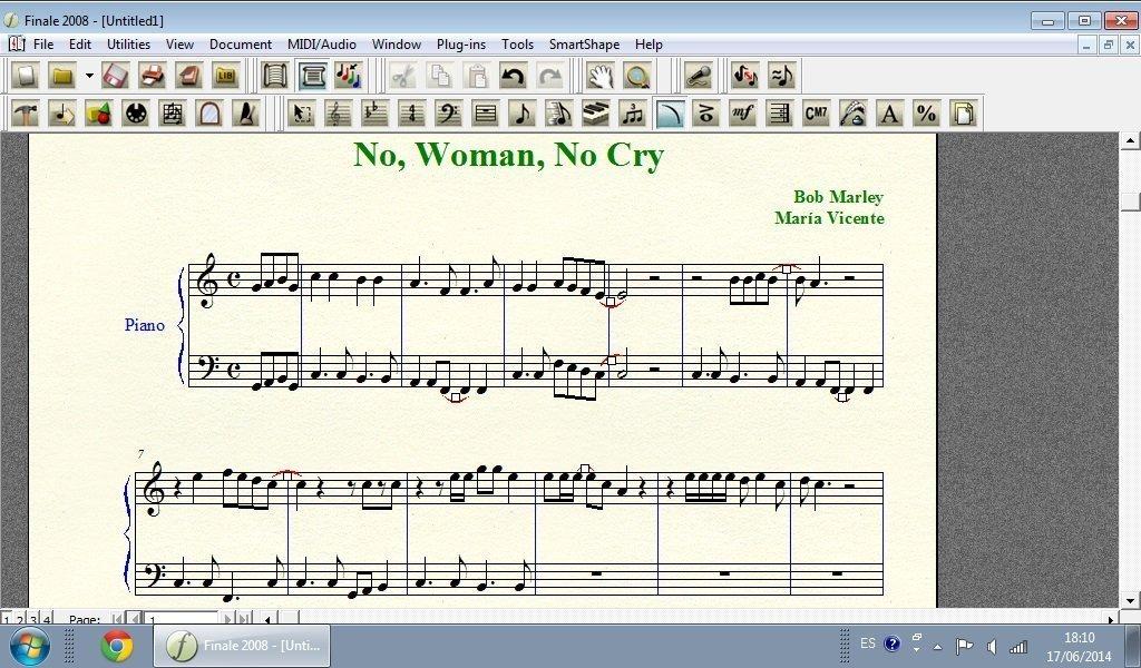Editando partitura No, Woman, No Cry