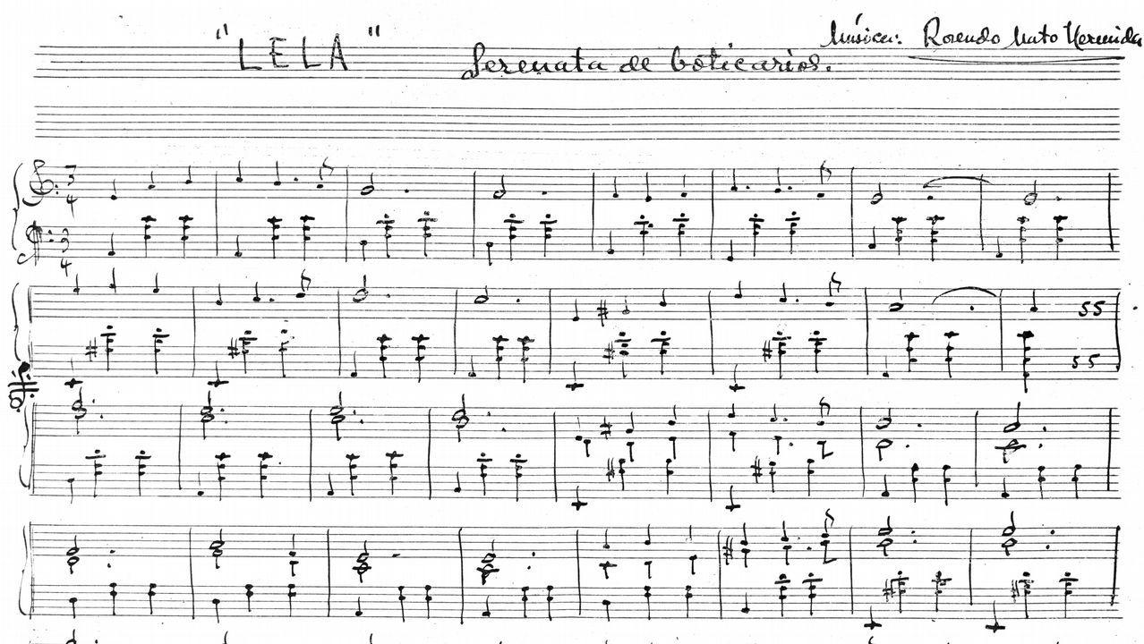 Detalle de la partitura original que recoge la música que compuso Rosendo Mato para el poema de Castelao «Lela»
